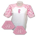 Everyday Life White Adult Pink Ribbon Theme Sleeved Jersey T-Shirt